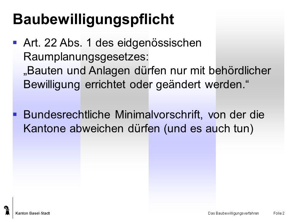 Kanton Basel-Stadt Das BaubewilligungsverfahrenFolie 2 Baubewilligungspflicht Art. 22 Abs. 1 des eidgenössischen Raumplanungsgesetzes: Bauten und Anla