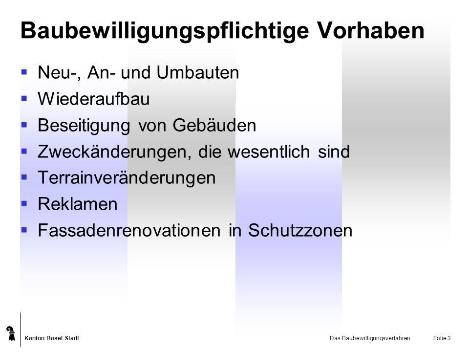 Kanton Basel-Stadt Das BaubewilligungsverfahrenFolie 3 Baubewilligungspflichtige Vorhaben Neu-, An- und Umbauten Wiederaufbau Beseitigung von Gebäuden