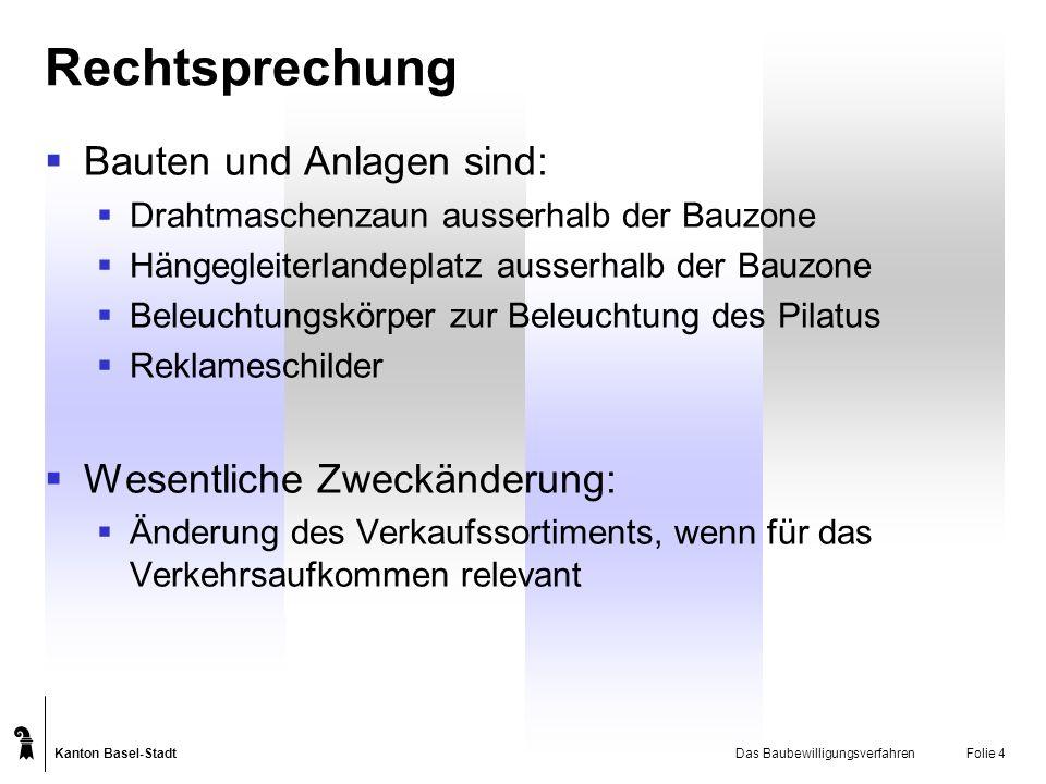 Kanton Basel-Stadt Das BaubewilligungsverfahrenFolie 5 Verfahrensgrundsätze Fristen und deren Wirkungen Koordination der Verfahren Gleichzeitige Einleitung der notwendigen Verfahren Gleichzeitige Eröffnung der Entscheide Eine Rechtsmittelinstanz