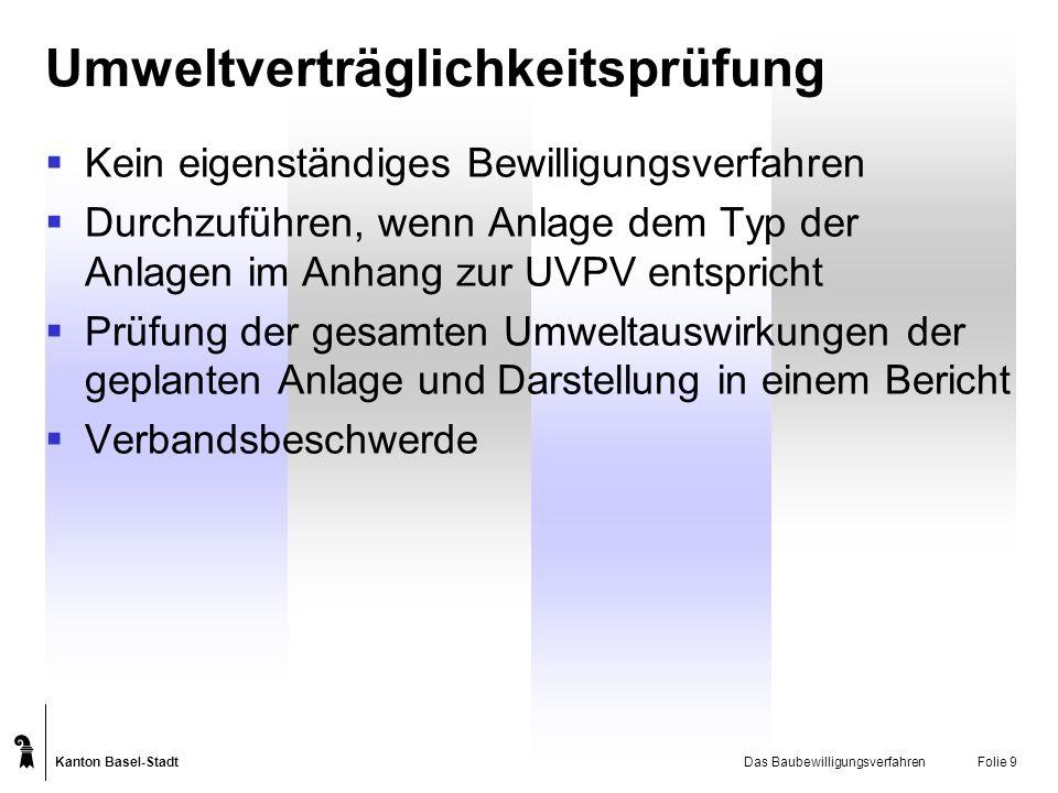Kanton Basel-Stadt Das BaubewilligungsverfahrenFolie 9 Umweltverträglichkeitsprüfung Kein eigenständiges Bewilligungsverfahren Durchzuführen, wenn Anl