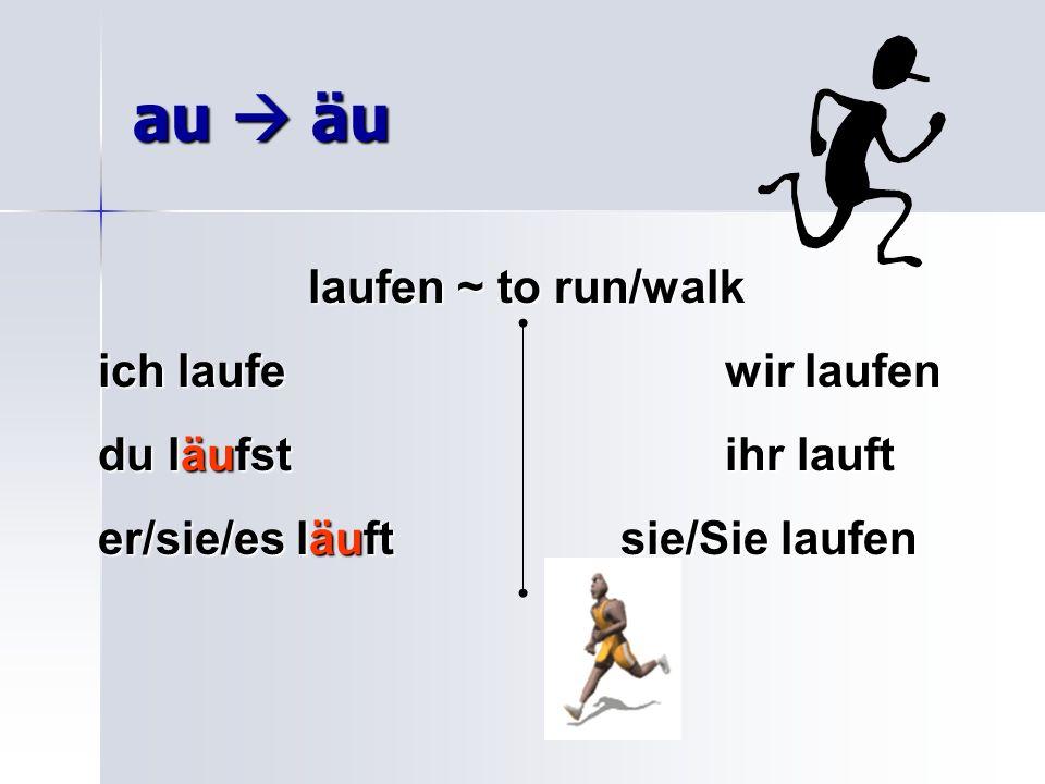au äu laufen ~ to run/walk ich laufewir laufen du läufstihr lauft er/sie/es läuftsie/Sie laufen