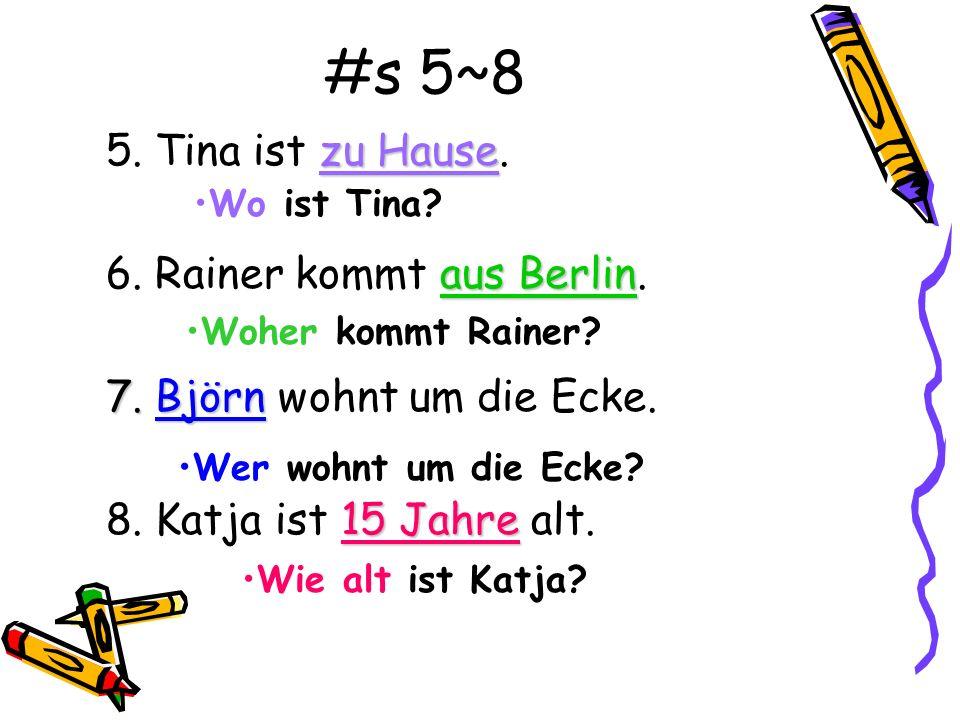 #s 1~4 Write questions about the words that are underlined. 1.Dieter 1.Dieter kennt Ali sehr gut. Anne 2.Das ist Anne. in München 3.Herr Tielmann wohn