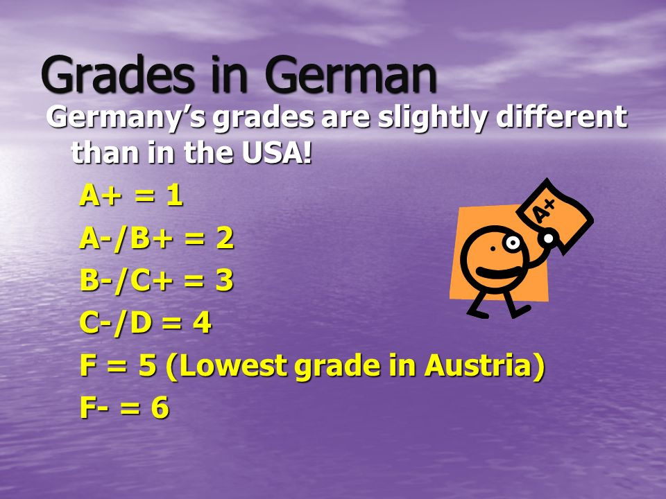 Grades in German Germanys grades are slightly different than in the USA.
