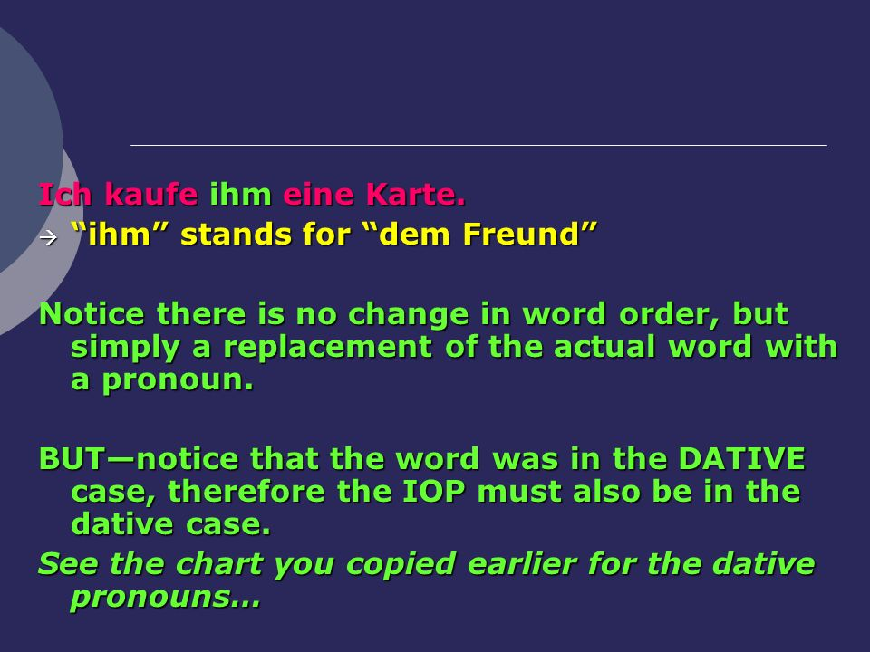 Ich kaufe ihm eine Karte. ihm stands for dem Freund ihm stands for dem Freund Notice there is no change in word order, but simply a replacement of the