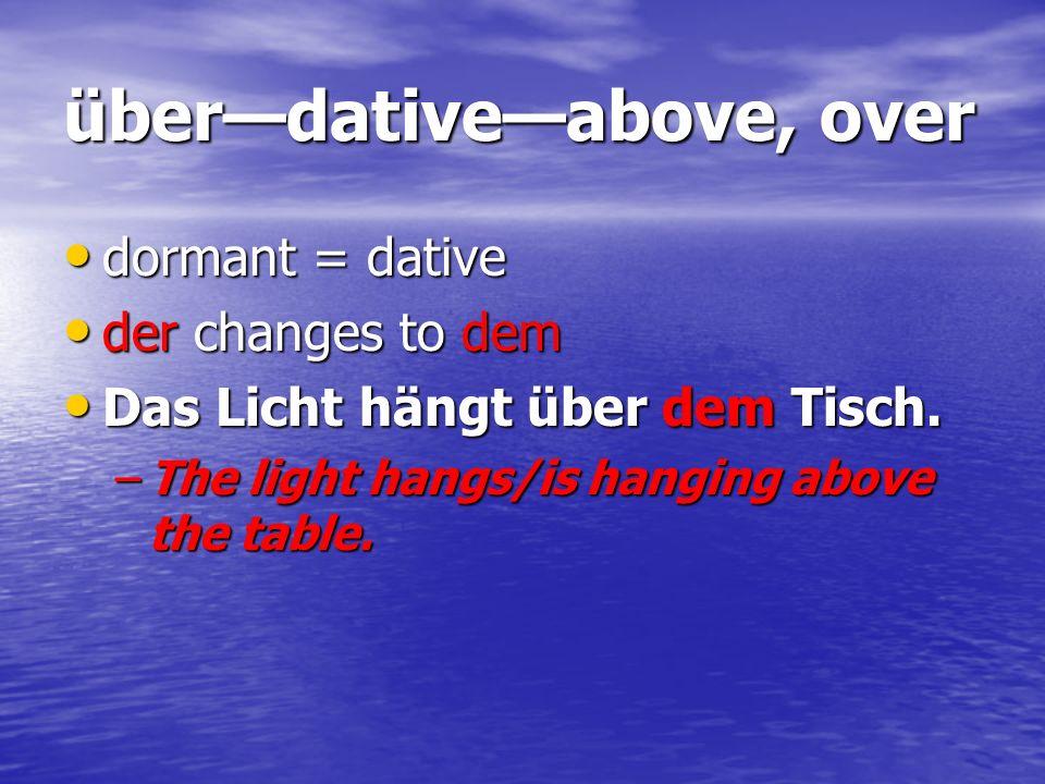 überdativeabove, over dormant = dative dormant = dative der changes to dem der changes to dem Das Licht hängt über dem Tisch. Das Licht hängt über dem