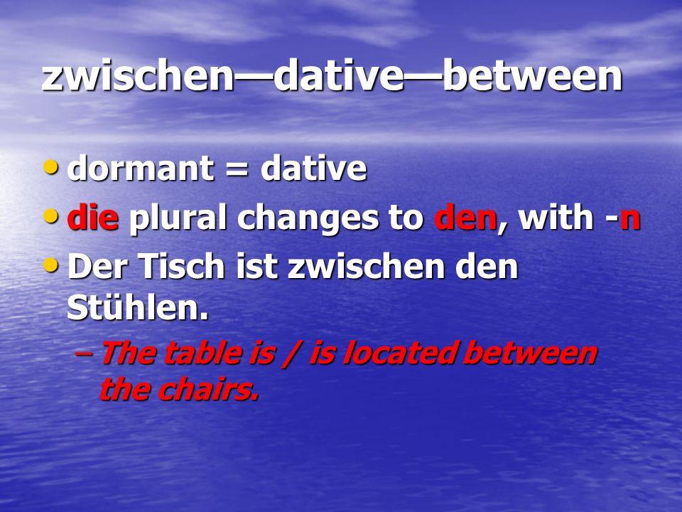 zwischendativebetween dormant = dative dormant = dative die plural changes to den, with -n die plural changes to den, with -n Der Tisch ist zwischen d