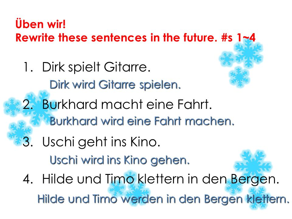 Some more about werden the action verb goes at the end of the clause/sentence use the infinitive form – z.B. Markus wird seine Hausaufgabe nicht mache