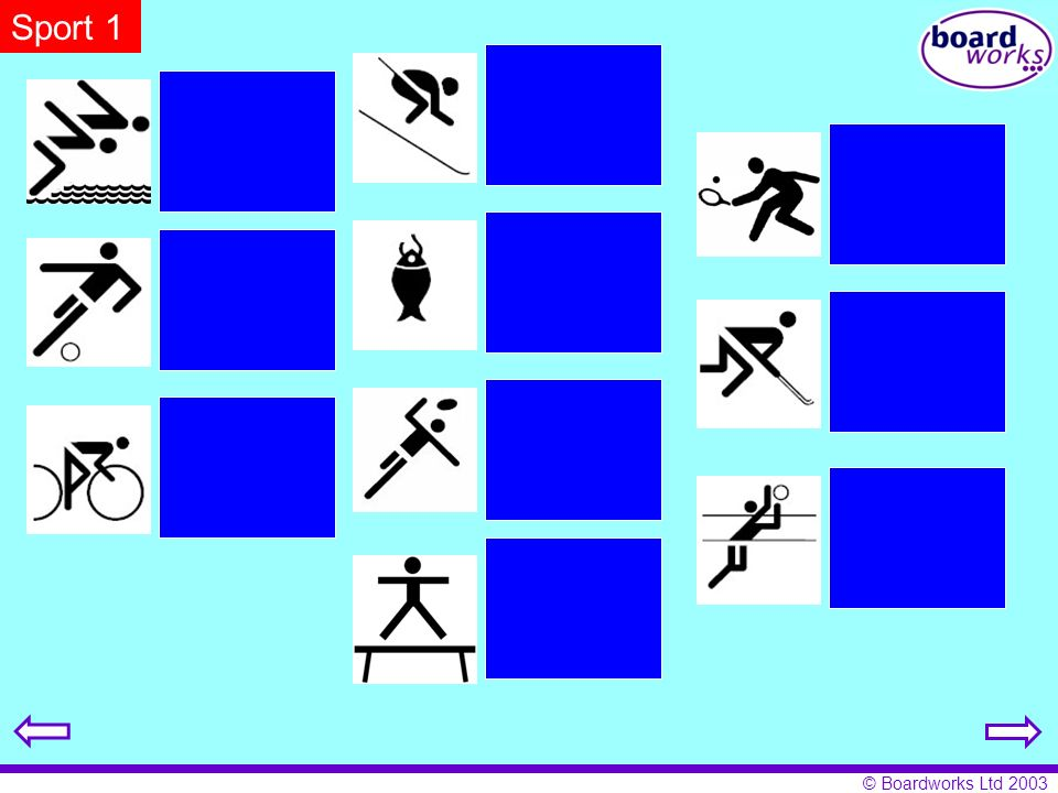 © Boardworks Ltd 2003 Sport 1 ich fahre Rad ich spiele Hockey ich spiele Fußball ich turne ich spiele Tennis ich spiele Volleyball ich angele ich spie