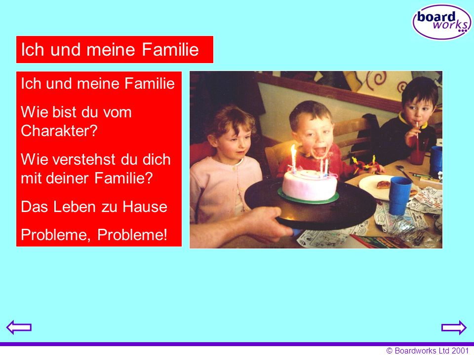© Boardworks Ltd 2001 Ich und meine Familie Wie bist du vom Charakter? Wie verstehst du dich mit deiner Familie? Das Leben zu Hause Probleme, Probleme