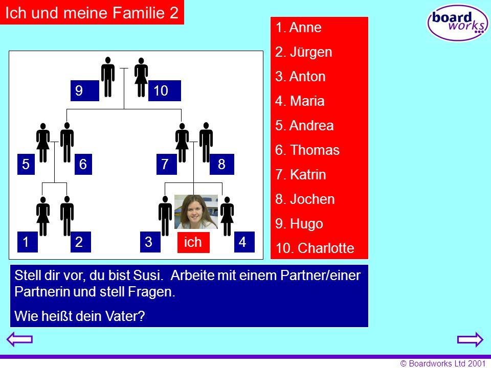 © Boardworks Ltd 2001 1. Anne 2. Jürgen 3. Anton 4. Maria 5. Andrea 6. Thomas 7. Katrin 8. Jochen 9. Hugo 10. Charlotte Stell dir vor, du bist Susi. A