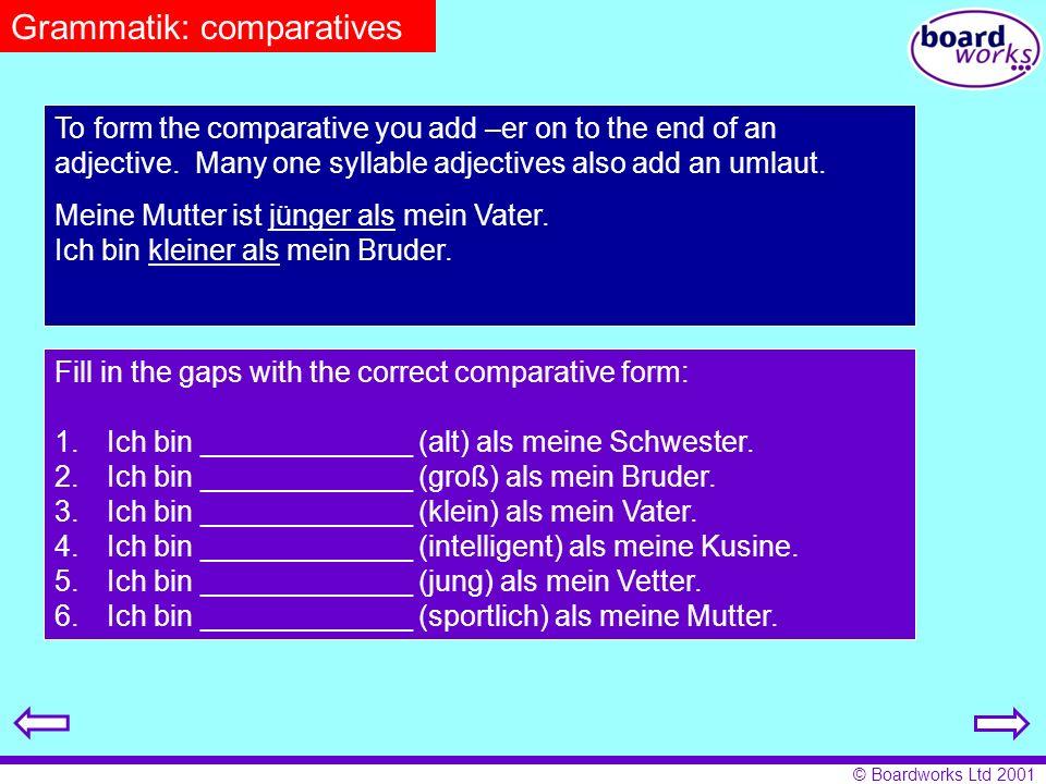 © Boardworks Ltd 2001 Grammatik: separable verbs in the perfect tense.