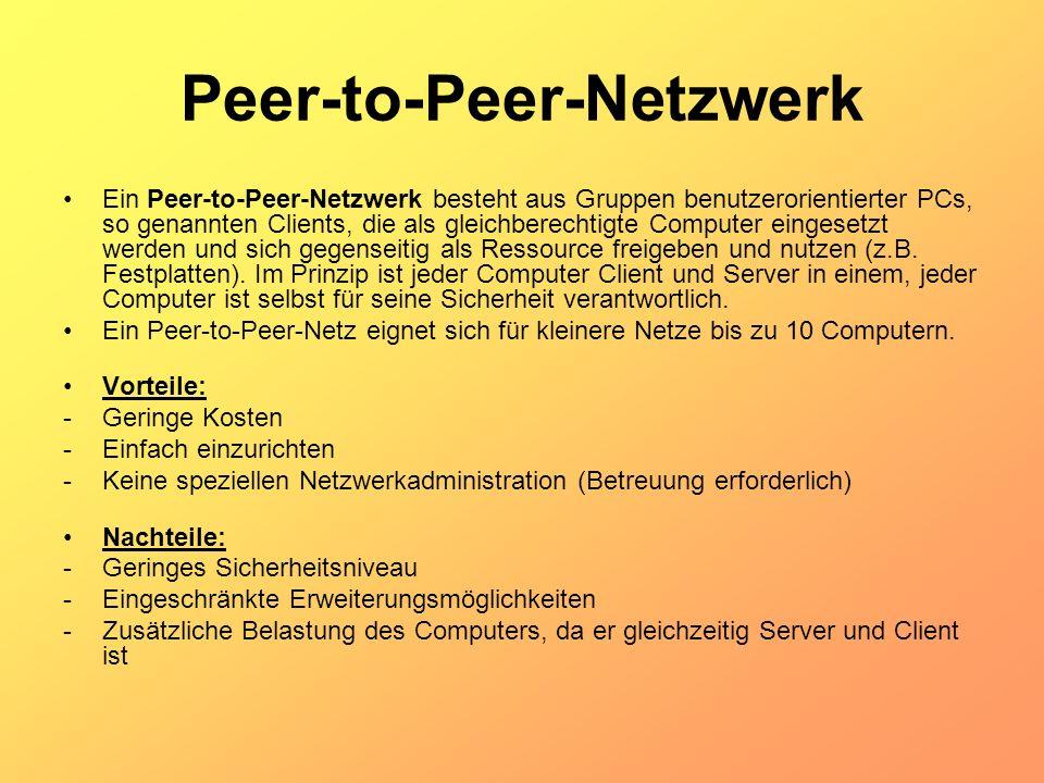 Peer-to-Peer-Netzwerk Ein Peer-to-Peer-Netzwerk besteht aus Gruppen benutzerorientierter PCs, so genannten Clients, die als gleichberechtigte Computer