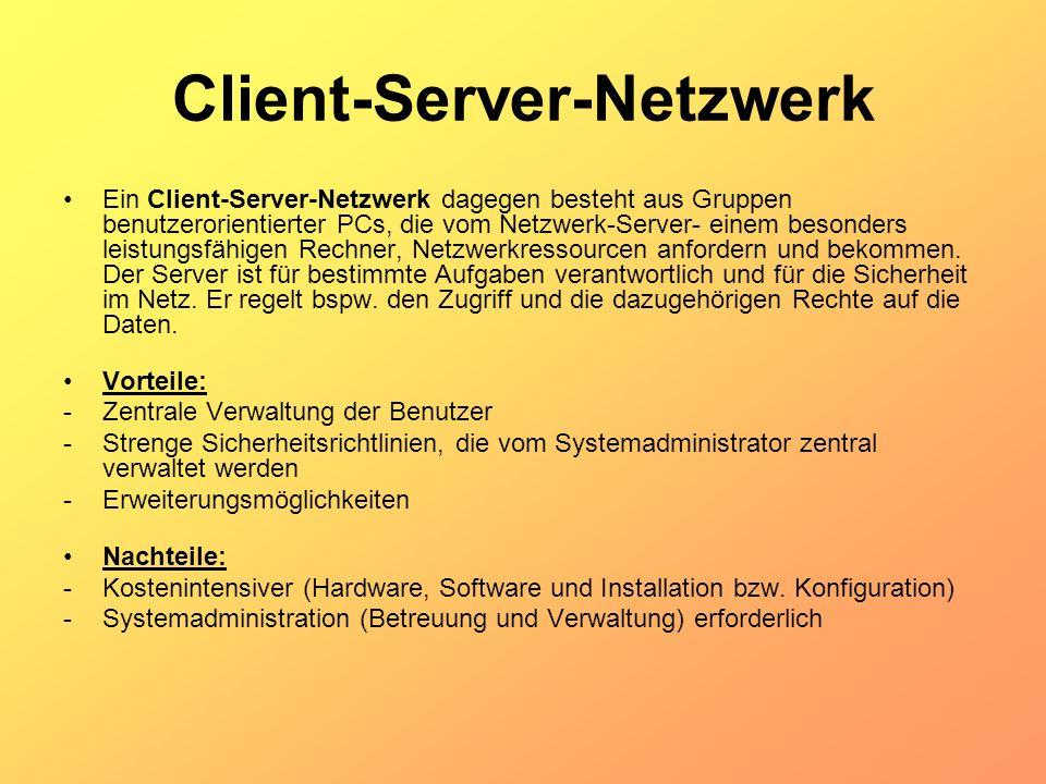Client-Server-Netzwerk Ein Client-Server-Netzwerk dagegen besteht aus Gruppen benutzerorientierter PCs, die vom Netzwerk-Server- einem besonders leist