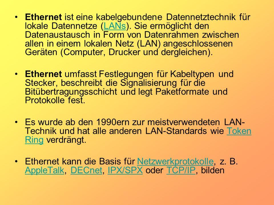Ethernet ist eine kabelgebundene Datennetztechnik für lokale Datennetze (LANs). Sie ermöglicht den Datenaustausch in Form von Datenrahmen zwischen all