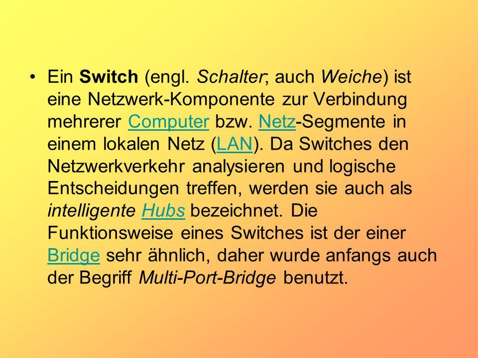 Ein Switch (engl. Schalter; auch Weiche) ist eine Netzwerk-Komponente zur Verbindung mehrerer Computer bzw. Netz-Segmente in einem lokalen Netz (LAN).