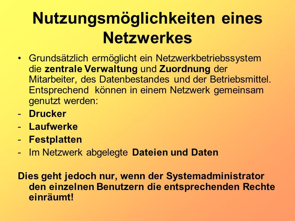 Nutzungsmöglichkeiten eines Netzwerkes Grundsätzlich ermöglicht ein Netzwerkbetriebssystem die zentrale Verwaltung und Zuordnung der Mitarbeiter, des
