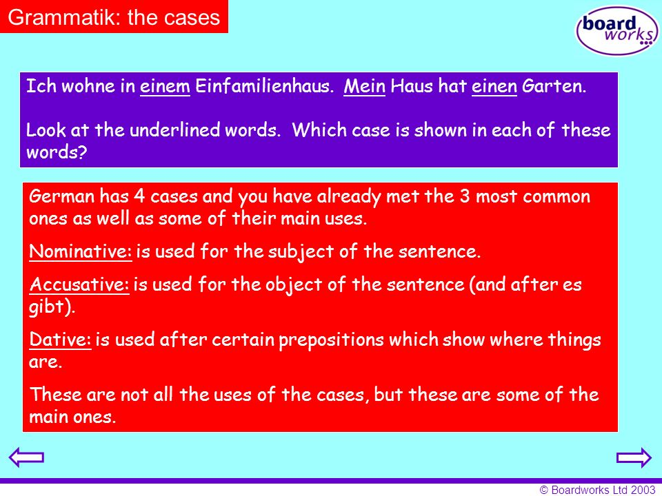 © Boardworks Ltd 2003 Grammatik: the cases Ich wohne in einem Einfamilienhaus. Mein Haus hat einen Garten. Look at the underlined words. Which case is