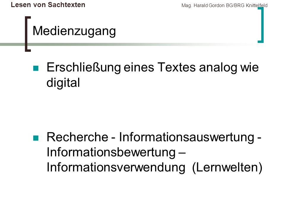 Lesen von Sachtexten Mag. Harald Gordon BG/BRG Knittelfeld Medienzugang Erschließung eines Textes analog wie digital Recherche - Informationsauswertun