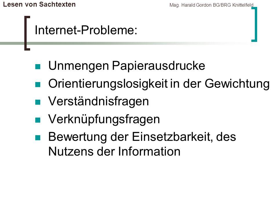 Lesen von Sachtexten Mag. Harald Gordon BG/BRG Knittelfeld Internet-Probleme: Unmengen Papierausdrucke Orientierungslosigkeit in der Gewichtung Verstä