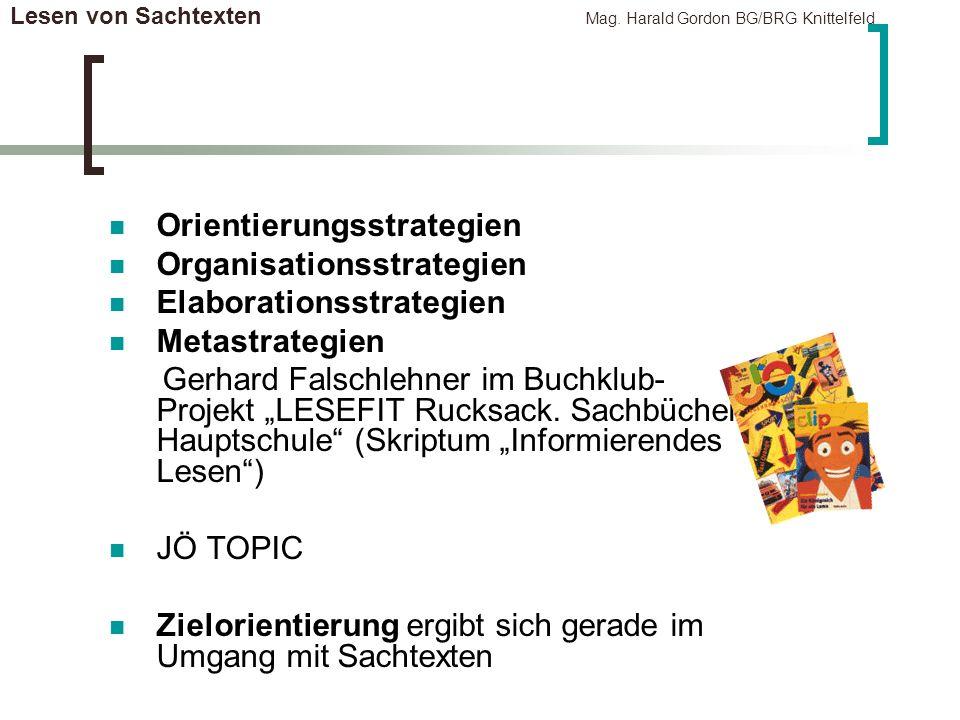 Lesen von Sachtexten Mag. Harald Gordon BG/BRG Knittelfeld Orientierungsstrategien Organisationsstrategien Elaborationsstrategien Metastrategien Gerha