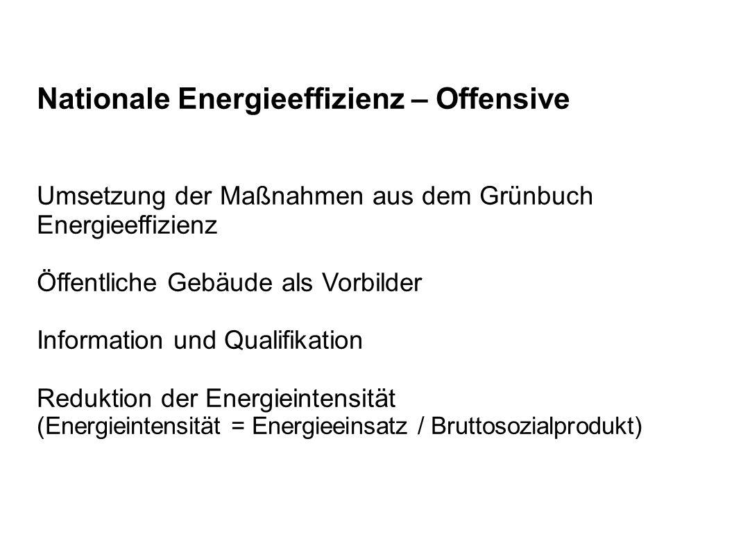 Nationale Energieeffizienz – Offensive Umsetzung der Maßnahmen aus dem Grünbuch Energieeffizienz Öffentliche Gebäude als Vorbilder Information und Qualifikation Reduktion der Energieintensität (Energieintensität = Energieeinsatz / Bruttosozialprodukt)