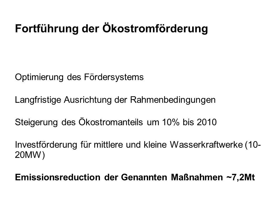 Fortführung der Ökostromförderung Optimierung des Fördersystems Langfristige Ausrichtung der Rahmenbedingungen Steigerung des Ökostromanteils um 10% bis 2010 Investförderung für mittlere und kleine Wasserkraftwerke (10- 20MW) Emissionsreduction der Genannten Maßnahmen ~7,2Mt