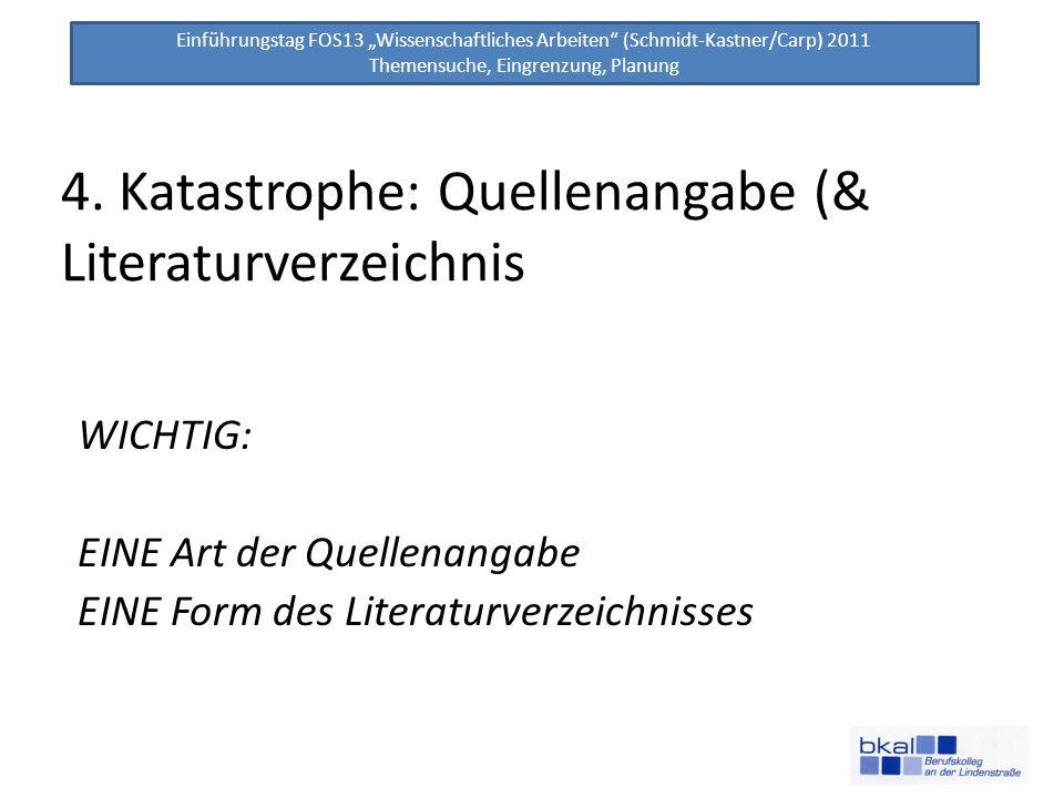 Einführungstag FOS13 Wissenschaftliches Arbeiten (Schmidt-Kastner/Carp) 2011 Themensuche, Eingrenzung, Planung 4. Katastrophe: Quellenangabe (& Litera