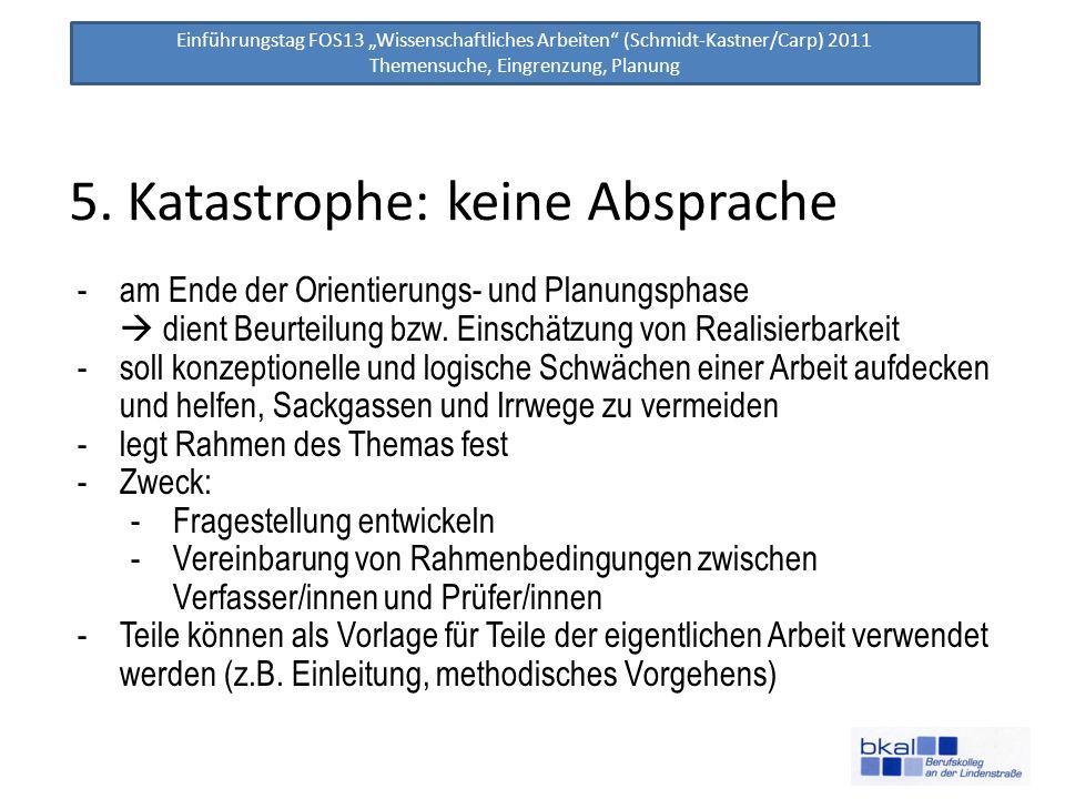 Einführungstag FOS13 Wissenschaftliches Arbeiten (Schmidt-Kastner/Carp) 2011 Themensuche, Eingrenzung, Planung 5. Katastrophe: keine Absprache -am End