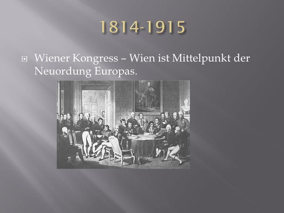Wiener Kongress – Wien ist Mittelpunkt der Neuordung Europas.