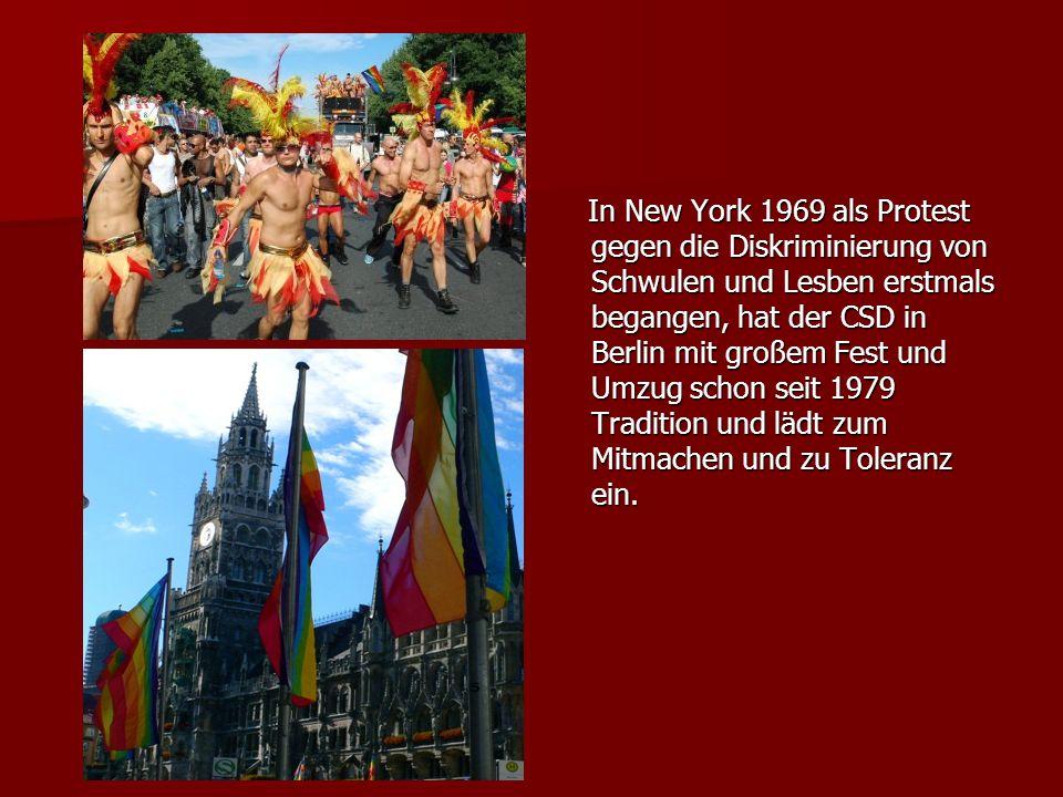 In New York 1969 als Protest gegen die Diskriminierung von Schwulen und Lesben erstmals begangen, hat der CSD in Berlin mit großem Fest und Umzug scho