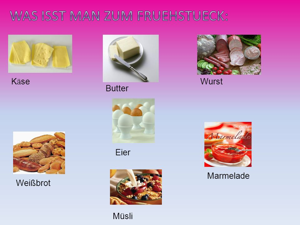 K ӓ se Wurst Weißbrot Butter Eier Marmelade Müsli