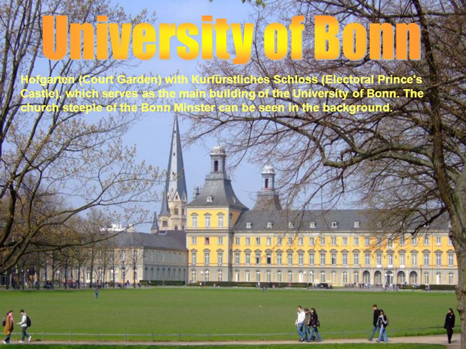 Hofgarten (Court Garden) with Kurfürstliches Schloss (Electoral Prince's Castle), which serves as the main building of the University of Bonn. The chu