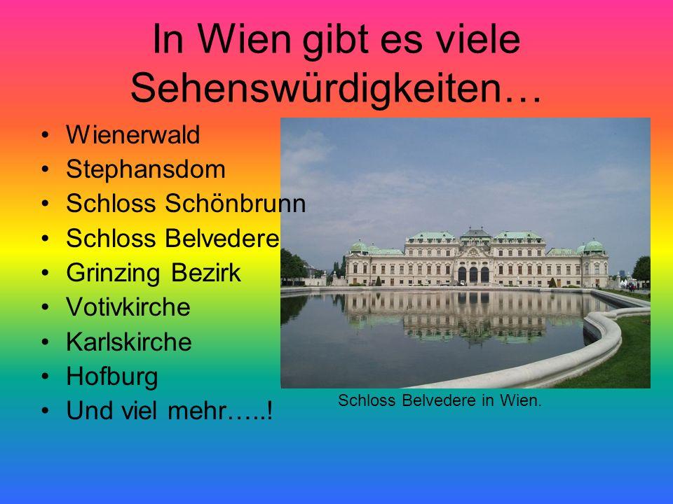 In Wien gibt es viele Sehenswürdigkeiten… Wienerwald Stephansdom Schloss Schönbrunn Schloss Belvedere Grinzing Bezirk Votivkirche Karlskirche Hofburg