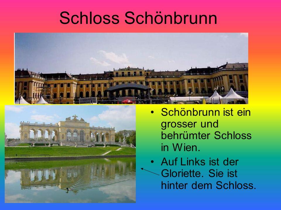 Schloss Schönbrunn Schönbrunn ist ein grosser und behrümter Schloss in Wien. Auf Links ist der Gloriette. Sie ist hinter dem Schloss.
