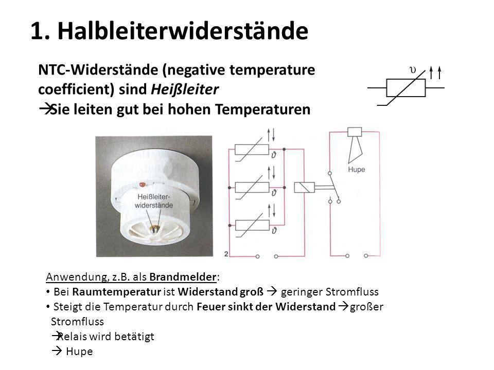 1. Halbleiterwiderstände NTC-Widerstände (negative temperature coefficient) sind Heißleiter Sie leiten gut bei hohen Temperaturen Anwendung, z.B. als