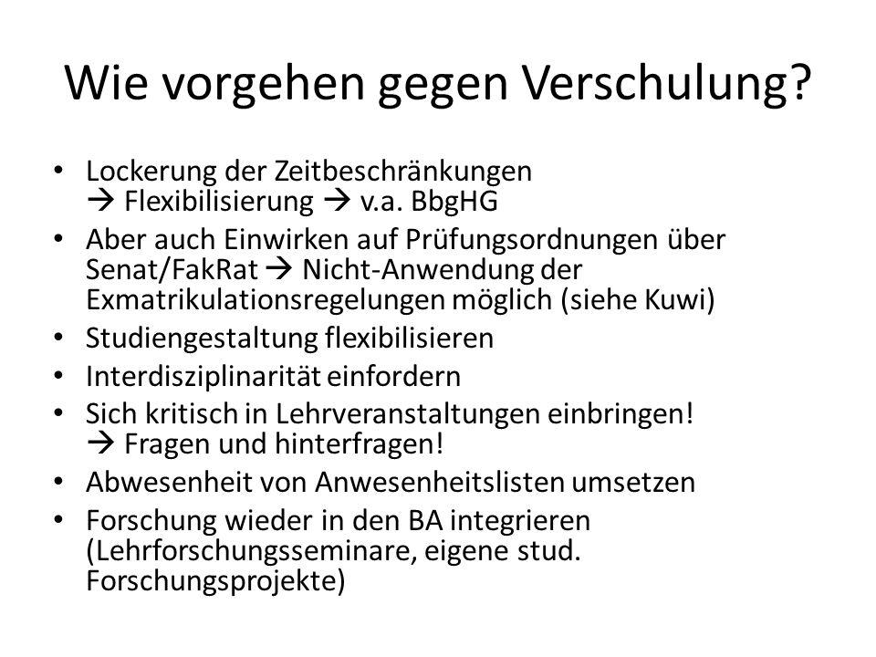 Wie vorgehen gegen Verschulung. Lockerung der Zeitbeschränkungen Flexibilisierung v.a.
