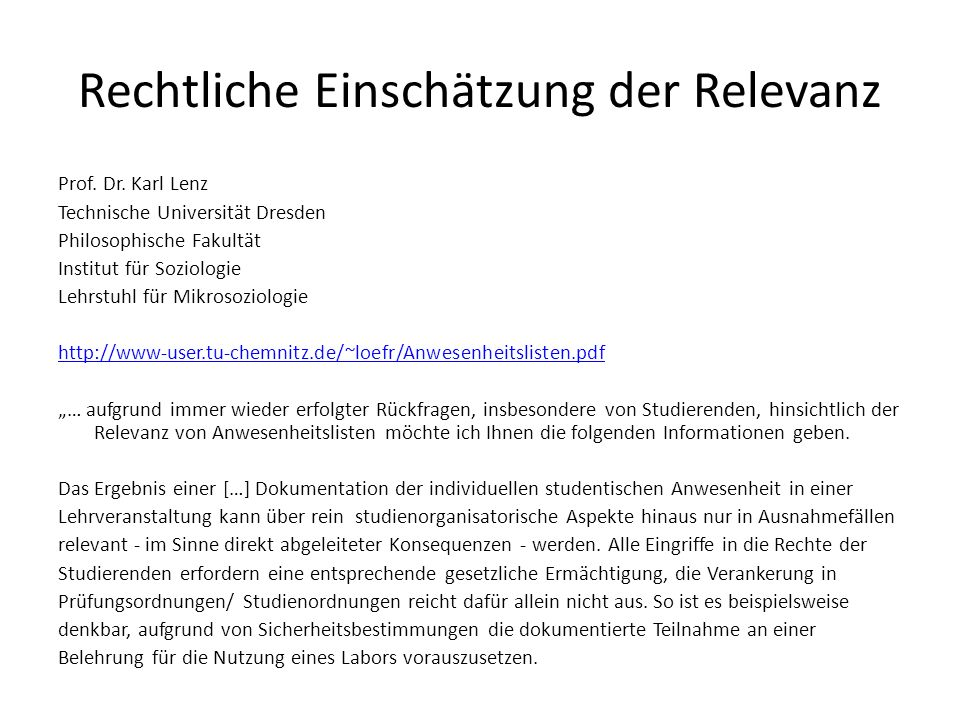 Rechtliche Einschätzung der Relevanz Prof. Dr.