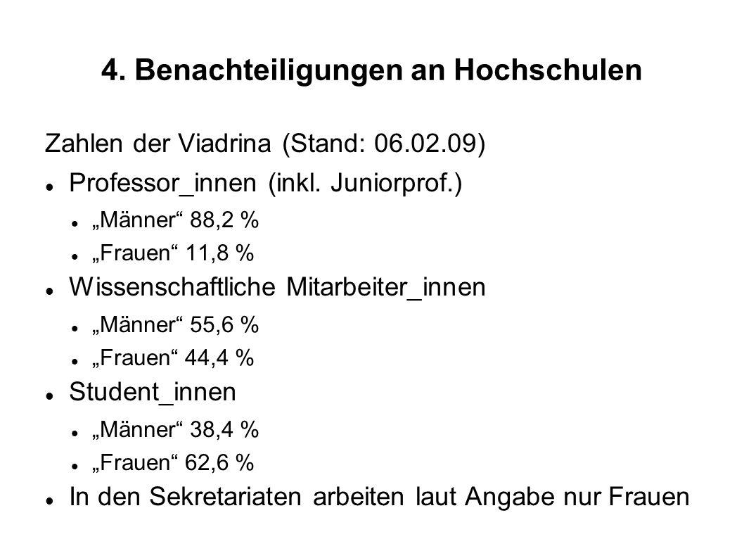 4. Benachteiligungen an Hochschulen Zahlen der Viadrina (Stand: 06.02.09) Professor_innen (inkl. Juniorprof.) Männer 88,2 % Frauen 11,8 % Wissenschaft