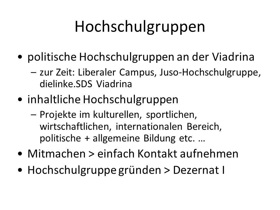 Hochschulgruppen politische Hochschulgruppen an der Viadrina –zur Zeit: Liberaler Campus, Juso-Hochschulgruppe, dielinke.SDS Viadrina inhaltliche Hoch