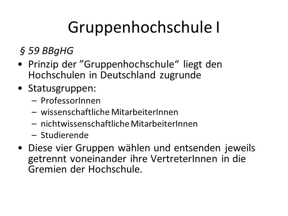 Gruppenhochschule I § 59 BBgHG Prinzip der Gruppenhochschule liegt den Hochschulen in Deutschland zugrunde Statusgruppen: –ProfessorInnen –wissenschaf