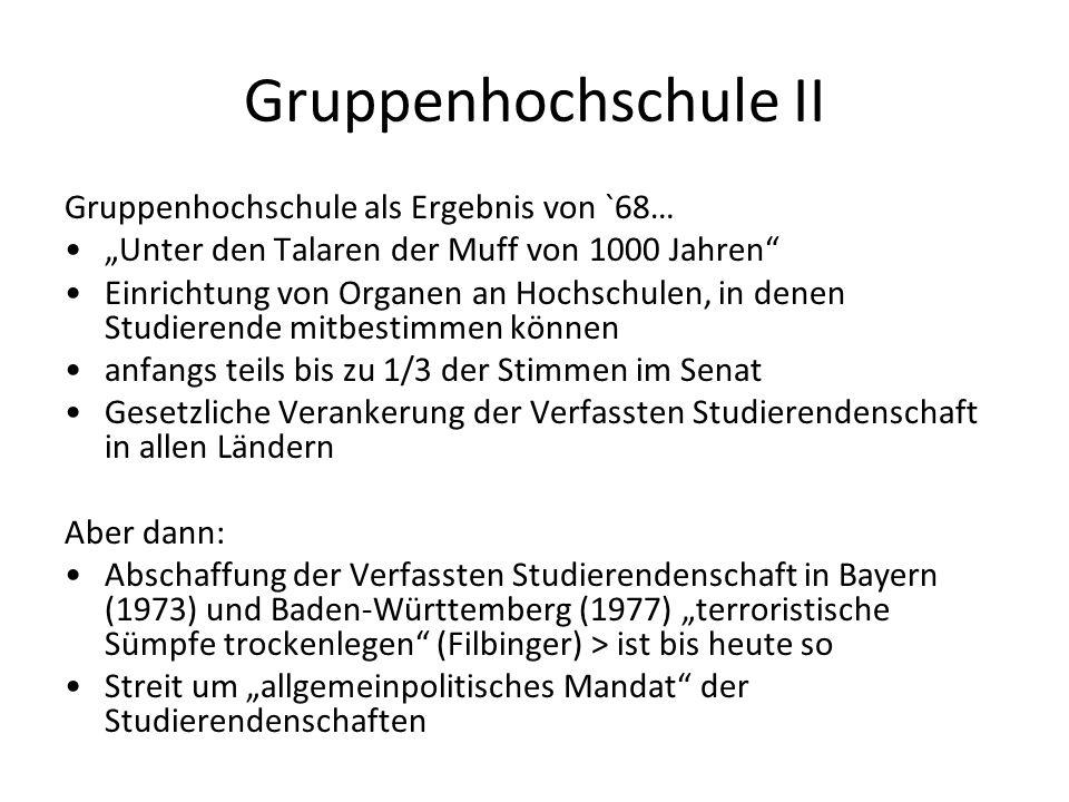 Gruppenhochschule II Gruppenhochschule als Ergebnis von `68… Unter den Talaren der Muff von 1000 Jahren Einrichtung von Organen an Hochschulen, in denen Studierende mitbestimmen können anfangs teils bis zu 1/3 der Stimmen im Senat Gesetzliche Verankerung der Verfassten Studierendenschaft in allen Ländern Aber dann: Abschaffung der Verfassten Studierendenschaft in Bayern (1973) und Baden-Württemberg (1977) terroristische Sümpfe trockenlegen (Filbinger) > ist bis heute so Streit um allgemeinpolitisches Mandat der Studierendenschaften