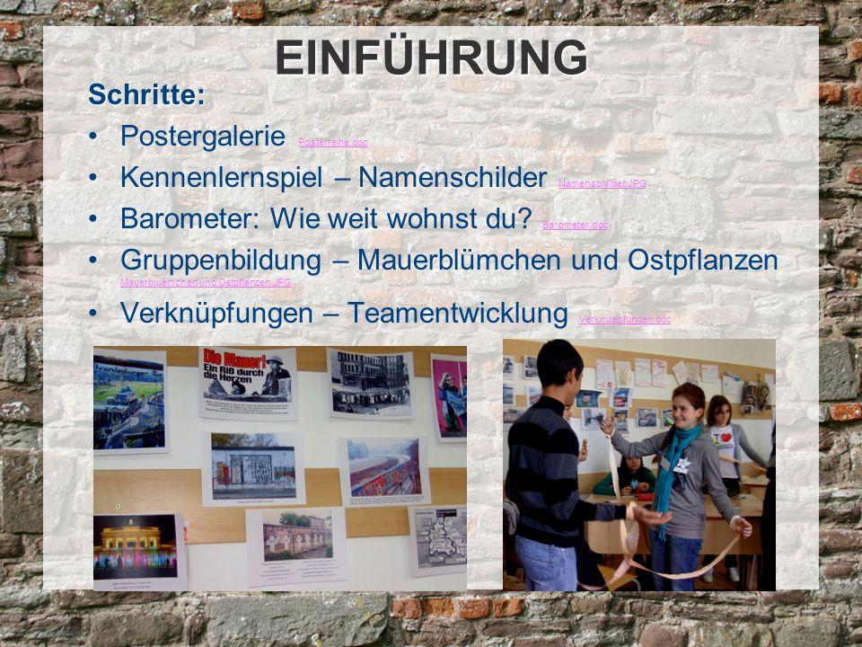 Schritte: Postergalerie Posterreihe.doc Posterreihe.doc Kennenlernspiel – Namenschilder Namenschilder.JPG Namenschilder.JPG Barometer: Wie weit wohnst du.
