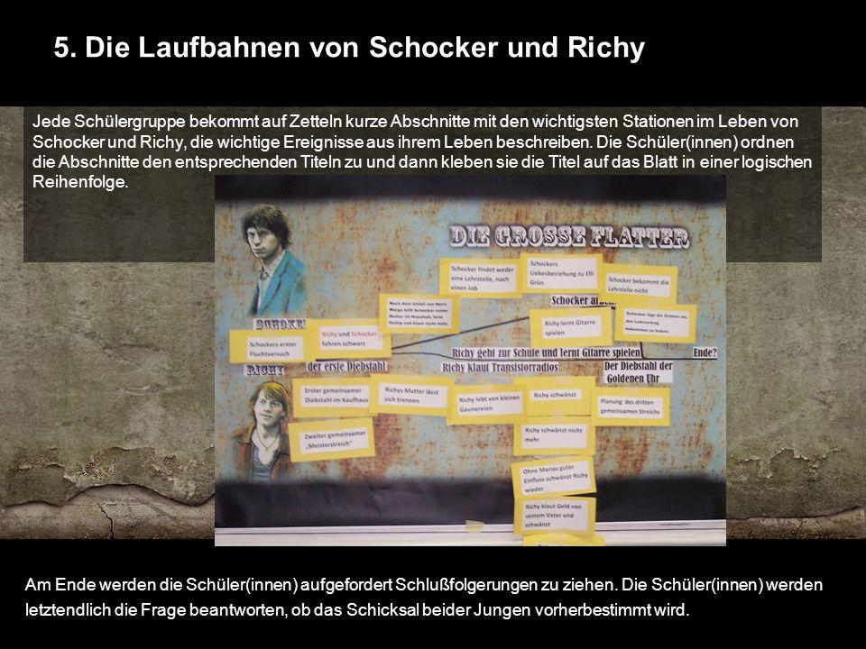 5. Die Laufbahnen von Schocker und Richy Jede Schülergruppe bekommt auf Zetteln kurze Abschnitte mit den wichtigsten Stationen im Leben von Schocker u