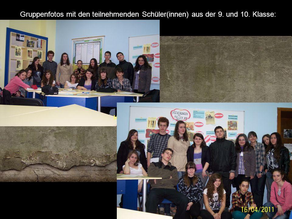 Gruppenfotos mit den teilnehmenden Schüler(innen) aus der 9. und 10. Klasse: