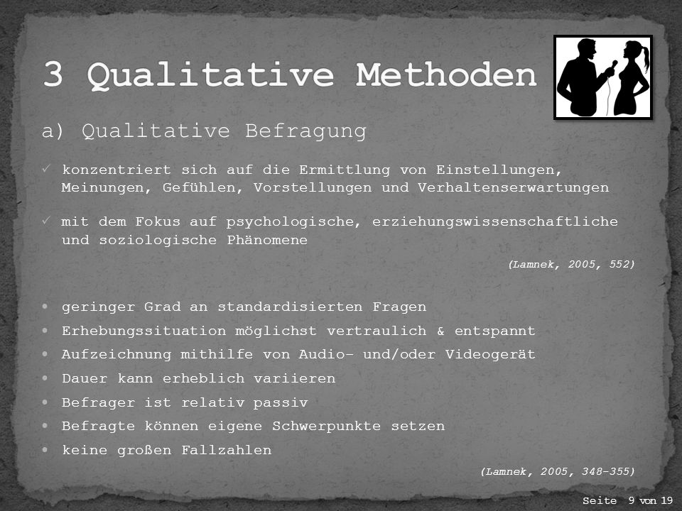 a) Qualitative Befragung konzentriert sich auf die Ermittlung von Einstellungen, Meinungen, Gefühlen, Vorstellungen und Verhaltenserwartungen mit dem