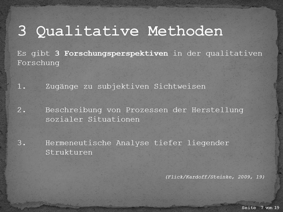 Es gibt 3 Forschungsperspektiven in der qualitativen Forschung 1.Zugänge zu subjektiven Sichtweisen 2. Beschreibung von Prozessen der Herstellung sozi