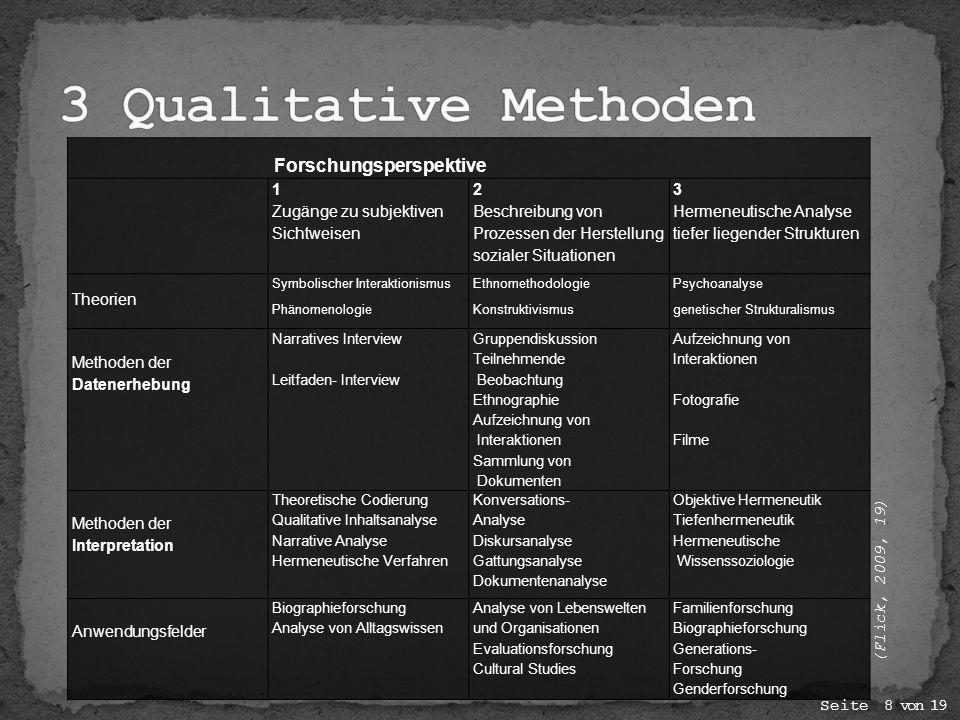 Forschungsperspektive 1 Zugänge zu subjektiven Sichtweisen 2 Beschreibung von Prozessen der Herstellung sozialer Situationen 3 Hermeneutische Analyse