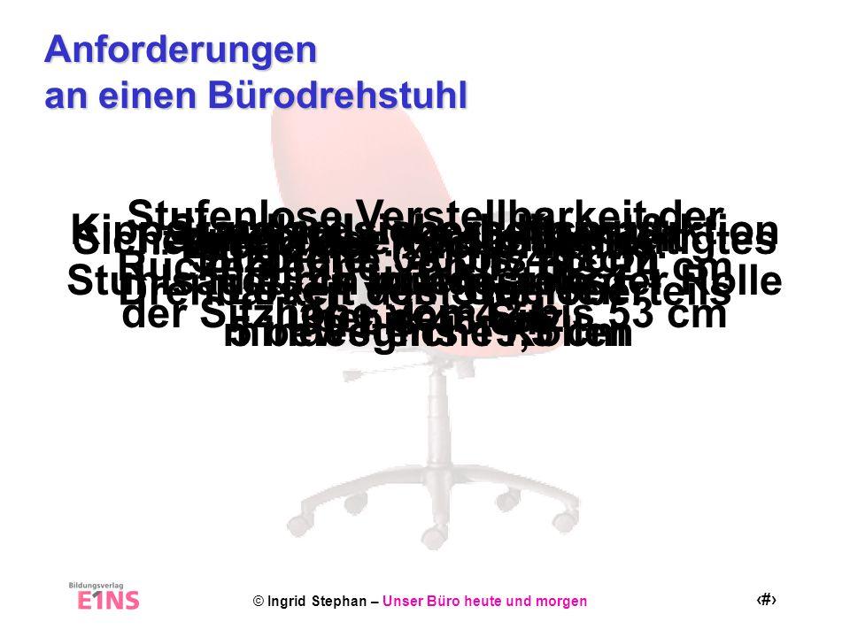 © Ingrid Stephan – Unser Büro heute und morgen 6 Verstellmöglichkeiten an einen Bürodrehstuhl Verstellung der Sitzhöhe Verstellung der Sitztiefe durch Verschieben der Sitzfläche.