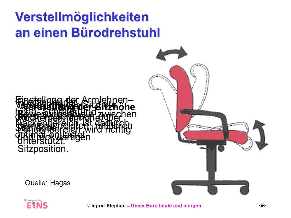 © Ingrid Stephan – Unser Büro heute und morgen 6 Verstellmöglichkeiten an einen Bürodrehstuhl Verstellung der Sitzhöhe Verstellung der Sitztiefe durch