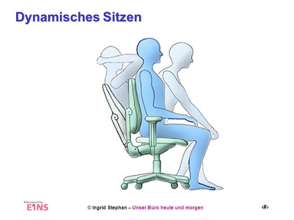 © Ingrid Stephan – Unser Büro heute und morgen 18 Aktiv Sitzen Schultern nach hinten nehmen und die Daumen dabei nach außen drehen 2 Quelle: VBG Gymnastik im Büro